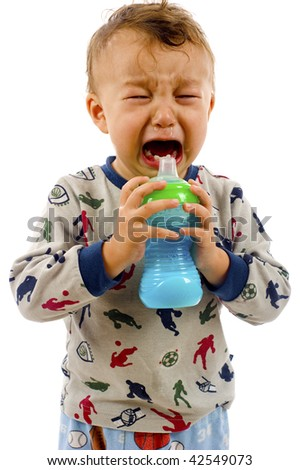 Crying baby boy isolated over a white background