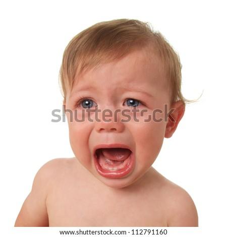 Crying baby boy, studio isolated on white. - stock photo