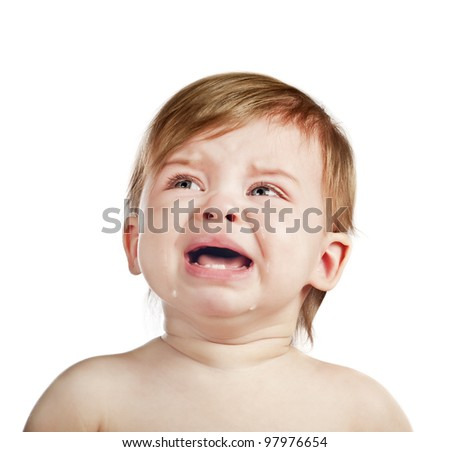 crying baby girl isolated - stock photo