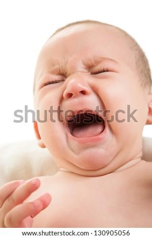 crying boy isolated on white