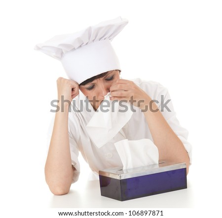 crying cook woman with tissues, white background