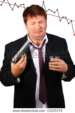 Crying drunk businessman committing suicide due to the stock exchange crash (conceptual)