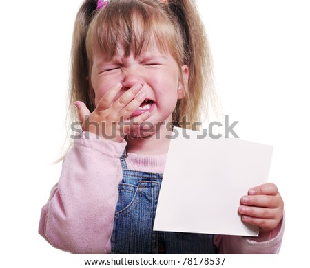 Crying girl in the old wear is keeping blank  sheet.