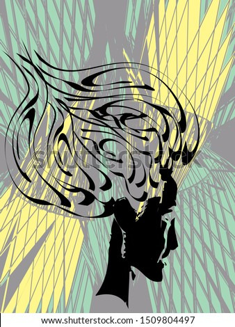 Crying girl with a high hairdo. The pouf  hairstyle. Cubism, Abstract art