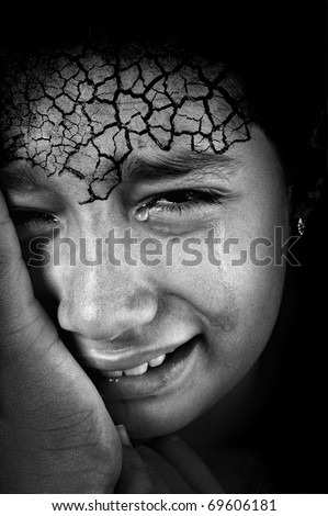 Crying girl with cracked forehead skin