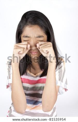 crying kid, Asian girl acting crying sadness.