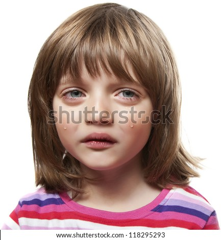 crying little girl - white background