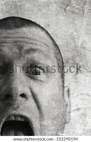 crying man in black and white with grunge texture