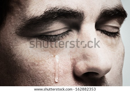 Crying Man With Tears On Face Closeup