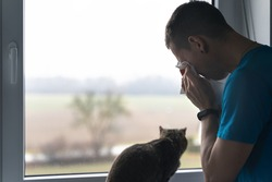 crying sad man with cat looks out of window