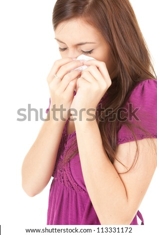 crying sad teenage girl with handkerchief, white background