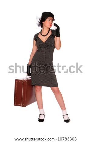 crying woman with a suitcase over white background