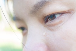 Crying women with tears on face closeup