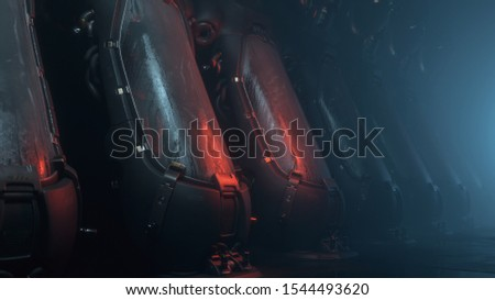Cryogenic hibernation capsules or containers in the medical laboratory of the spacecraft. Sci-fi interior with cryo chambers. Volumetric light illuminates cryopod with misted glass. 3d illustration.