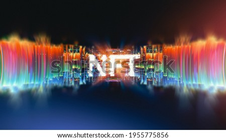 Crypto currency. Abstract effect. Future tech. NFT non-fungible token. Digital cryptoart. Shine grid. Neon flare. Quantum computer.  Magic code. Grid HUD lines. Web device. Blocks system. QR code