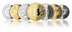 crypto currency coin panorama set collection row silver gold isolated on white background bitcoin ethereum monero dash litecoin ripple iota