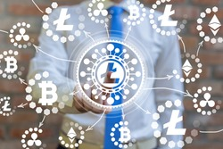 Crypto currency concept of litecoin. LTC cryptocurrency virtual peer-to-peer money.