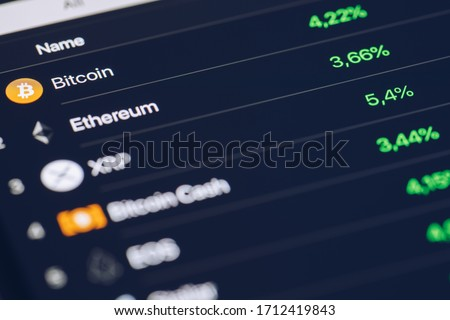 Crypto Currency market concept. Bank market and virtual currency value graph. Statistics comparison of best-selling crypto coins on stock exchange. Use for Bitcoin, ETH, Ripple, Bitcoin cash.