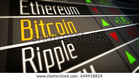 Crypto Currency Market 3D Illustration concept. Bank market and virtual currency value graph. Statistics comparison of best-selling crypto coins on stock exchange. Use for Bitcoin, ETH, Ripple dealer