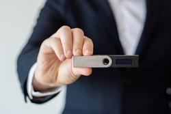 Crypto wallet blockchain cryptocurrencies hand ledger