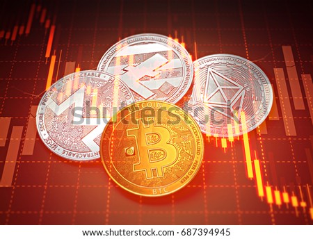 Cryptocurrencies success graphs with charts declining. Cryptocurrencies decline concept. 3D rendering
