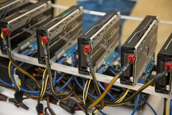 Cryptocurrency background mining rig , Close up of array of GPUs for mining rig machine to mine for digital cryptocurrency such as bitcoin, ethereum