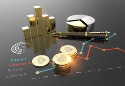 Cryptocurrency Bitcoin and virtual financial currency market exchange 3D illustration