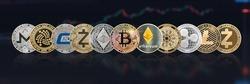 Cryptocurrency Bitcoin BTC and altcoin digital coin crypto currency, ETH Ethereum, ADA, XRP Ripple, LTC Litecoin, IOTA Miota, ZEC Zcash, XMR Monero, GASH defi p2p decentralized financial tech market