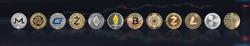 Cryptocurrency Bitcoin BTC with altcoin digital coin crypto currency, ETH Ethereum, ADA, XRP Ripple, LTC Litecoin, IOTA Miota, ZEC Zcash, XMR Monero, GASH, defi p2p decentralized financial tech market