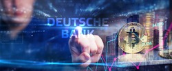 Cryptocurrency, Bitcoin, Internet, virtual money. Currency technology business internet concept. Businessman clicks on the text Deutsche bank on a virtual screen.