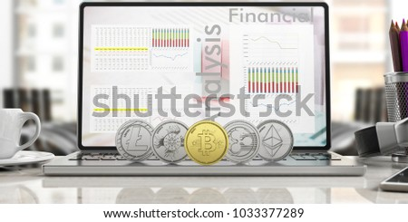 Cryptocurrency concept. Golden bitcoin and variety of silver virtual coins on a computer, blur office background. 3d illustration