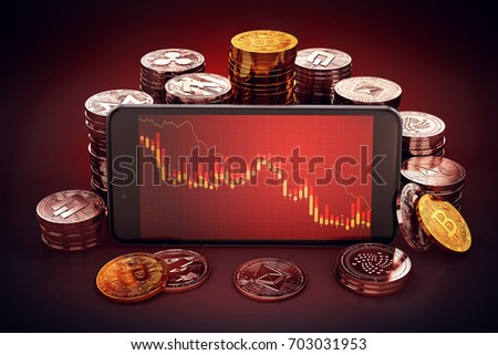 Cryptocurrency decline graph displayed on smartphone screen. Surrounded by different cryptocurrencies piles around. 3D rendering