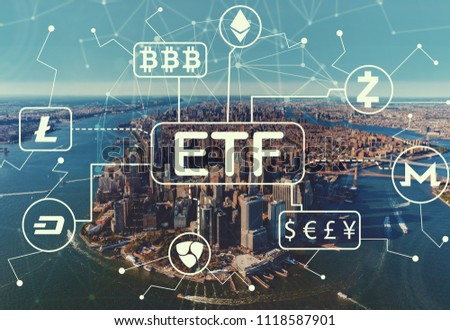 Cryptocurrency ETF theme with aerial view of Manhattan, NY skyline