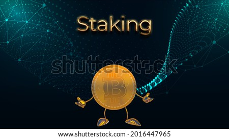 Cryptocurrency Stake, Cryptocurrency Staking. Golden Bitcoin symbol on stage. Proof of Stake, 3d illustration. Сток-фото ©