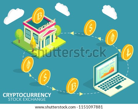 Cryptocurrency stock exchange process infographic. Isometric illustration. Buying, selling or exchanging cryptocurrencies for another digital currency or fiat money concept.