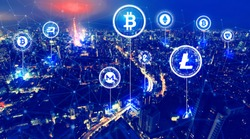 Cryptocurrency theme with aerial view of Tokyo, Japan at night