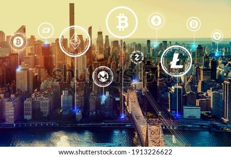 Cryptocurrency theme with the New York City skyline near midtown Stock photo ©