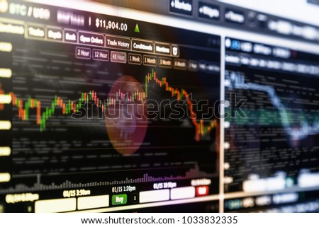 Cryptocurrency trading screen, Bitcoin exchange screen of trading information, Block chain technology of Crypto concept, Business and market trade concept