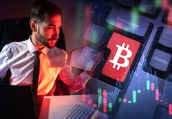Cryptocurrency trading. The cryptocurrency market. A man carries out transactions with bitcoins. Buying and selling bitcoins. Broker on the background of the bitcoin symbol.