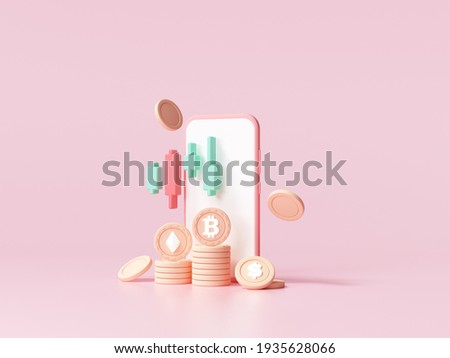 Cryptocurrency trend trading and growing, bitcoin rising all time high with graph, bitcoin investment on smartphone concept. 3d render illustration