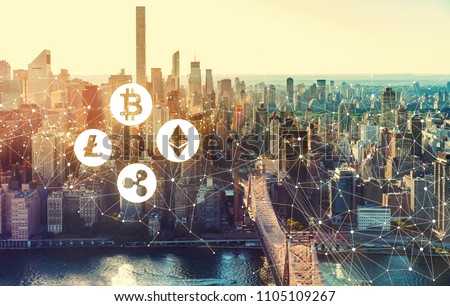 Cryptocurrency with the New York City skyline near Midtown #1105109267
