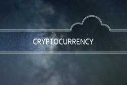 CRYPTOCURRENCY word cloud Concept. Space background.