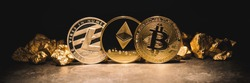 cryptocurrencys Ethereum, Bitcoin, Litecoin and mound of gold - Business concept image