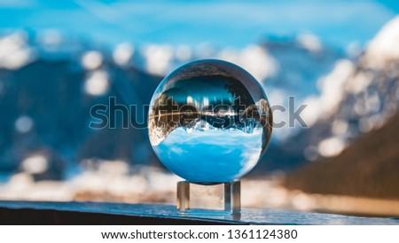 Crystal ball alpine winter landscape shot at the Achensee-Pertisau-Tyrol-Austria #1361124380