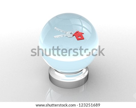 crystal ball and keys - 3d render