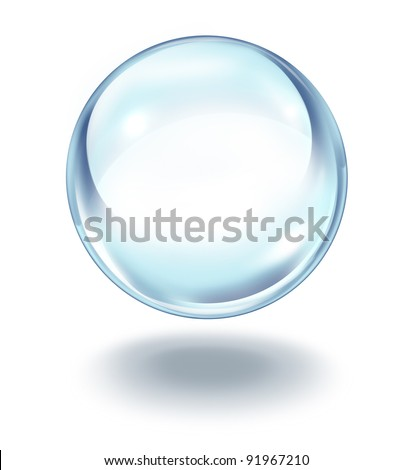 Crystal ball floating in the air as a transparent glass sphere on a white with a shadow as a symbol of  future visions and paranormal predictions of things to come in finances and personal fortune.