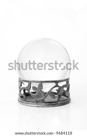 Crystal ball on metal stand