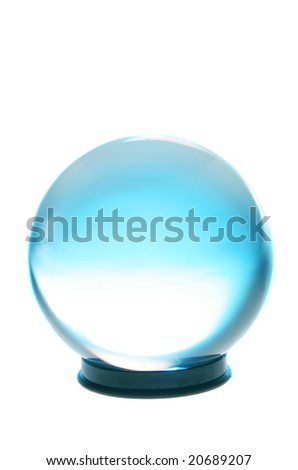 Crystal ball with turquoise and white light inside