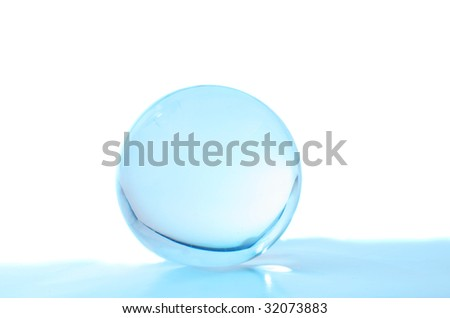 Crystal ball with turquoise light inside an foreground with a white background