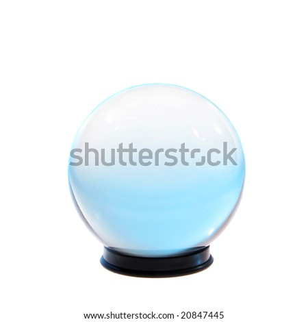 Crystal ball with turquoise light inside isolated on white
